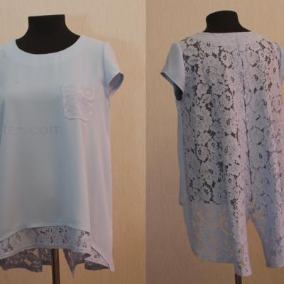 Блуза с отделкой из кружева (голубая)