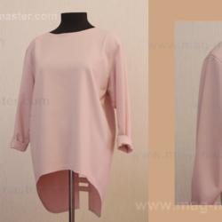 Блуза — туника с оригинальной отделкой спинки (комплект с пальто)